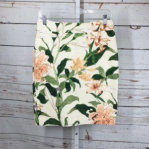 Ann Taylor Petite Floral Print Pencil Skirt 6P